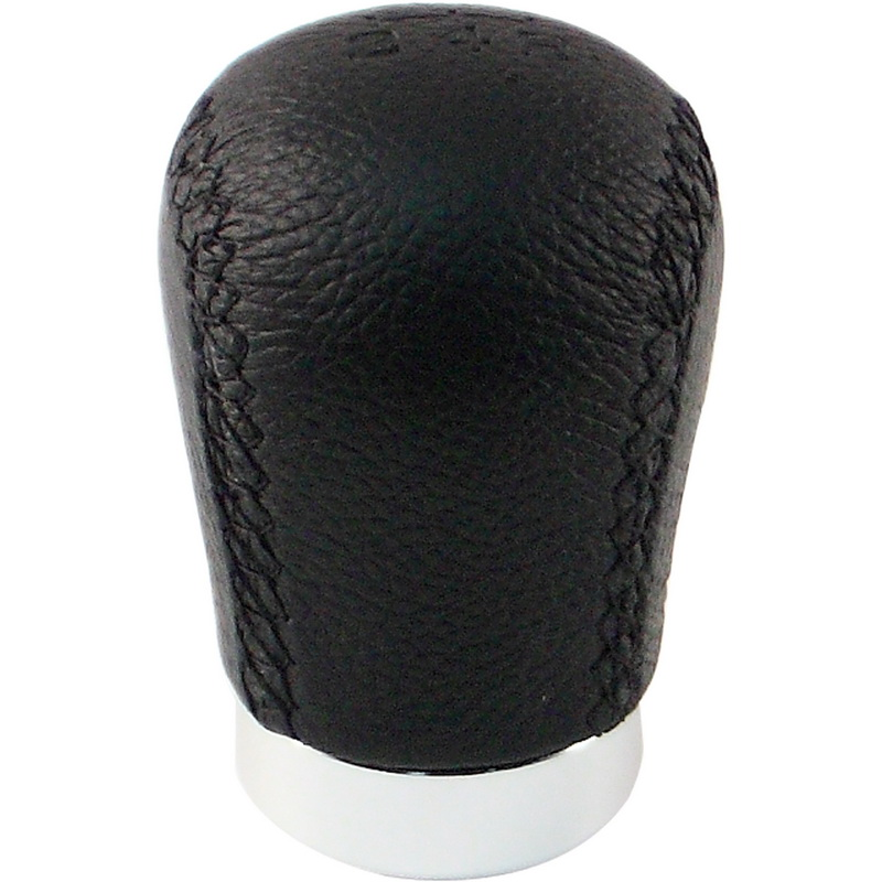 Pilot Automotive PM-2245A Black Leather Manual Shift Knob with Orange Stitching